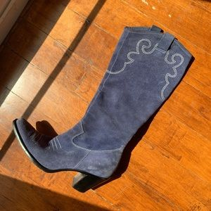 Purple suede cowgirl boots
